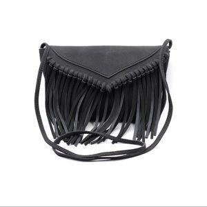 Black fringed suede shoulder small purse